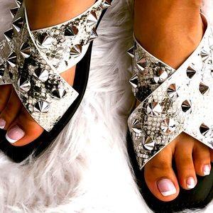 Soda Linwood Snake Print Silver Stud Flat Sandal
